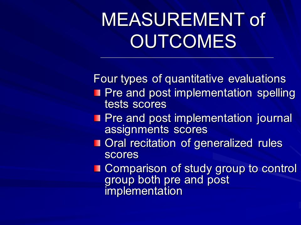 EXPECTED OUTCOMES Three specific outcomes will be achieved: 15 of 17 students will accurately verbalize generalized spelling rules for the addition of suffixes Pre Intervention Post Intervention Number of Participants
