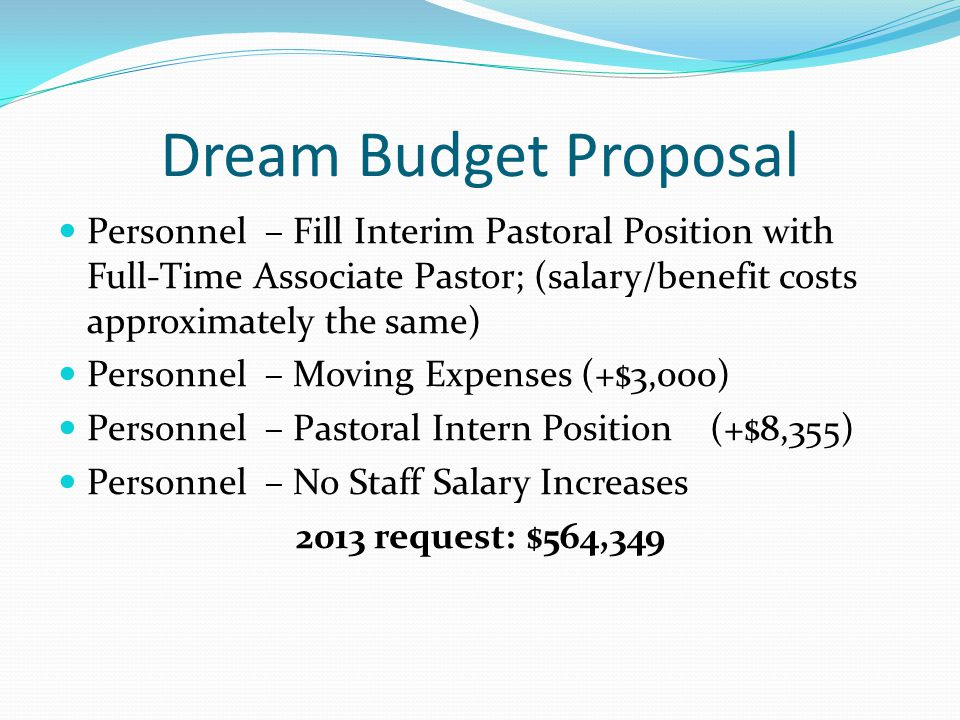 Dream Budget Proposal Personnel – Fill Interim Pastoral Position with Full-Time Associate Pastor; (salary/benefit costs approximately the same) Personnel – Moving Expenses (+$3,000) Personnel – Pastoral Intern Position (+$8,355) Personnel – No Staff Salary Increases 2013 request: $564,349