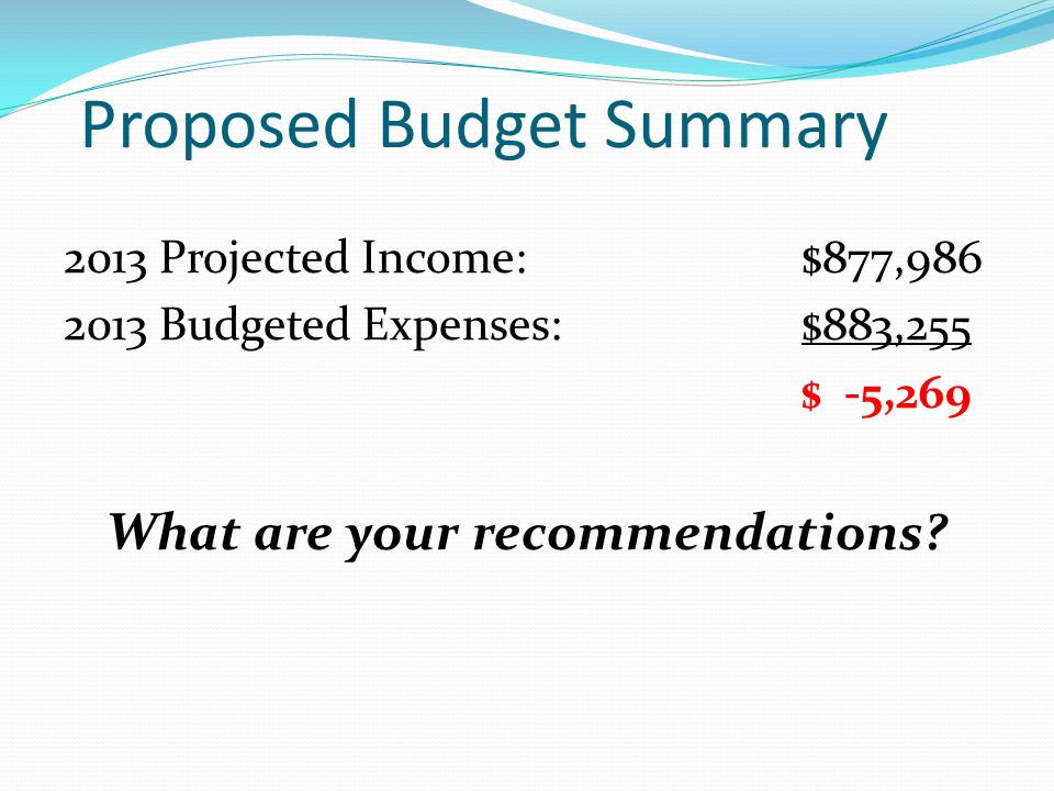 Proposed Budget Summary 2013 Projected Income:$877,986 2013 Budgeted Expenses:$883,255 $ -5,269 What are your recommendations