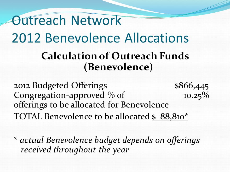 Outreach Network 2012 Benevolence Allocations Calculation of Outreach Funds (Benevolence) 2012 Budgeted Offerings$866,445 Congregation-approved % of 10.25% offerings to be allocated for Benevolence TOTAL Benevolence to be allocated$ 88,810* * actual Benevolence budget depends on offerings received throughout the year