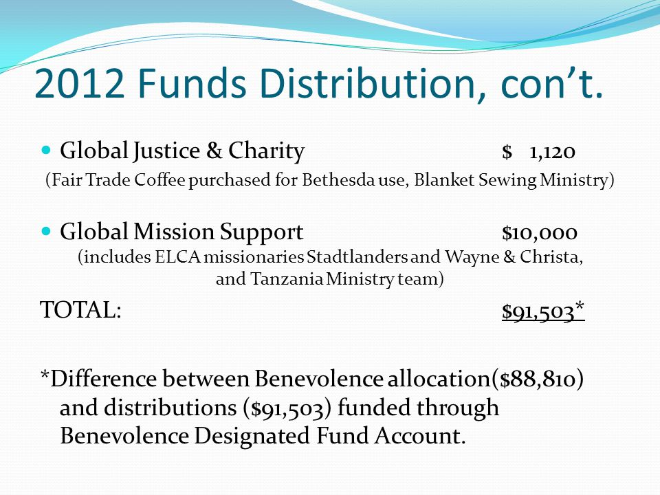 2012 Funds Distribution, con't.