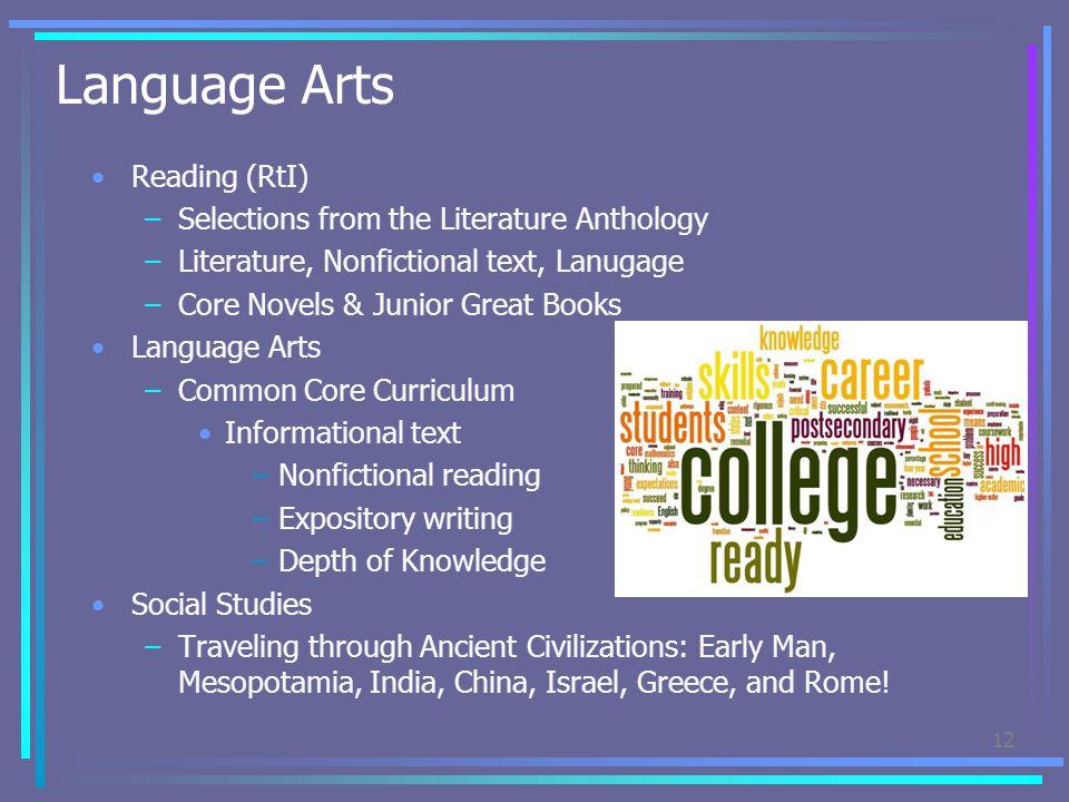 Language Arts Reading (RtI) –Selections from the Literature Anthology –Literature, Nonfictional text, Lanugage –Core Novels & Junior Great Books Langu