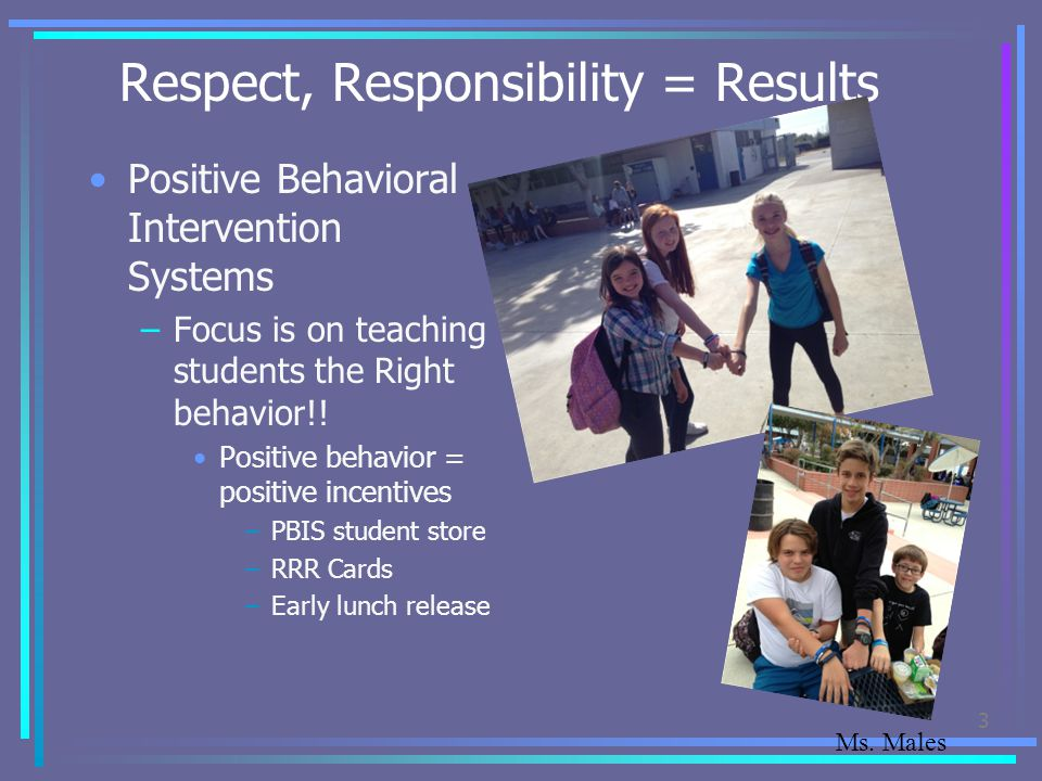 Respect, Responsibility = Results Positive Behavioral Intervention Systems –Focus is on teaching students the Right behavior!! Positive behavior = pos