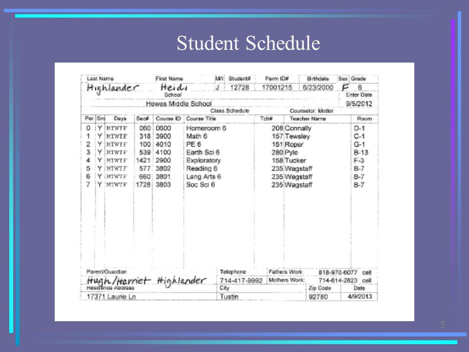 5 Student Schedule