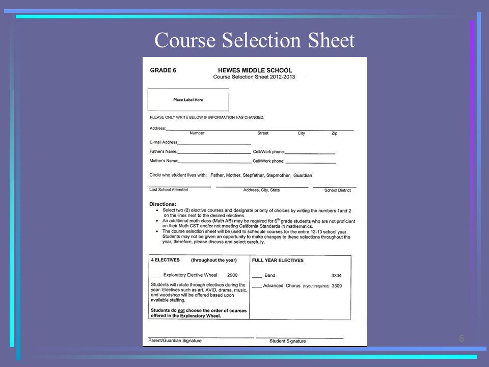6 Course Selection Sheet