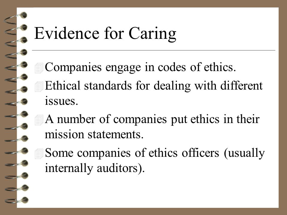 Evidence for Caring 4 Companies engage in codes of ethics.