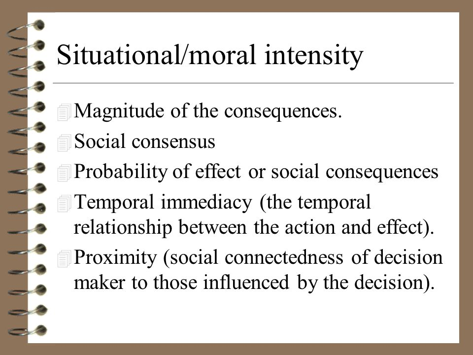 Situational/moral intensity 4 Magnitude of the consequences.