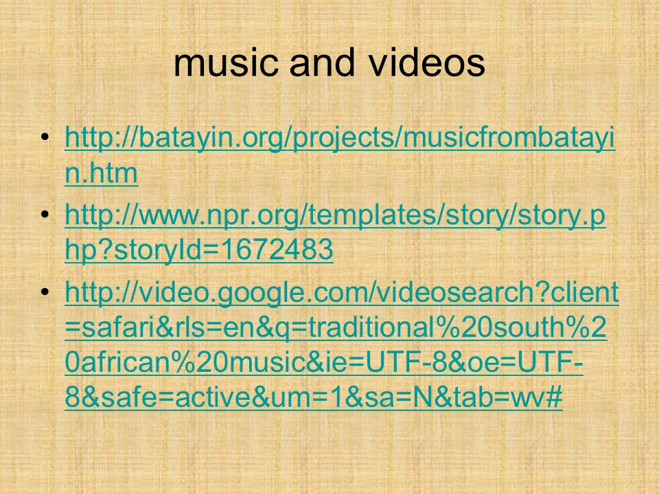 music and videos http://batayin.org/projects/musicfrombatayi n.htmhttp://batayin.org/projects/musicfrombatayi n.htm http://www.npr.org/templates/story