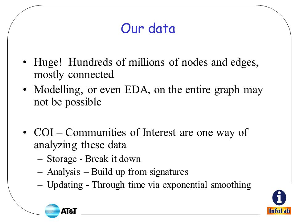Storage - Break it down Consider the atomic units of the graph, which we call a COI signature: –For every node in the graph, store Top k numbers inbound Top k numbers outbound Weights on each edge overflow bin In short, we are storing a huge graph as many little graphs, which are easily accessible (via indexed storage) for analysis.