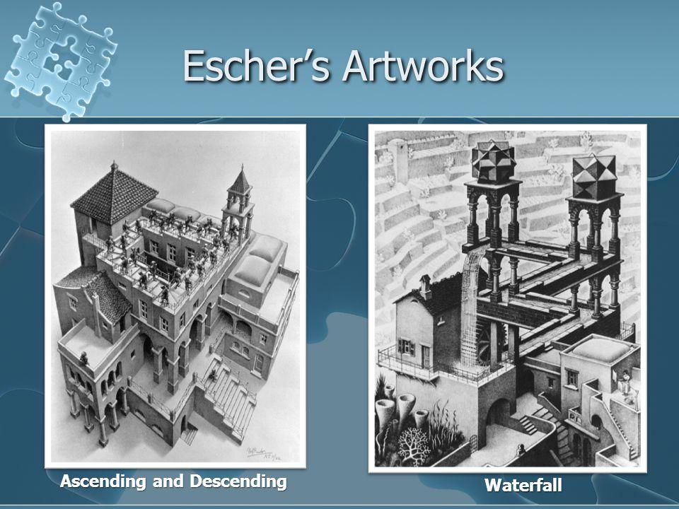 Escher's Artworks Ascending and Descending Waterfall