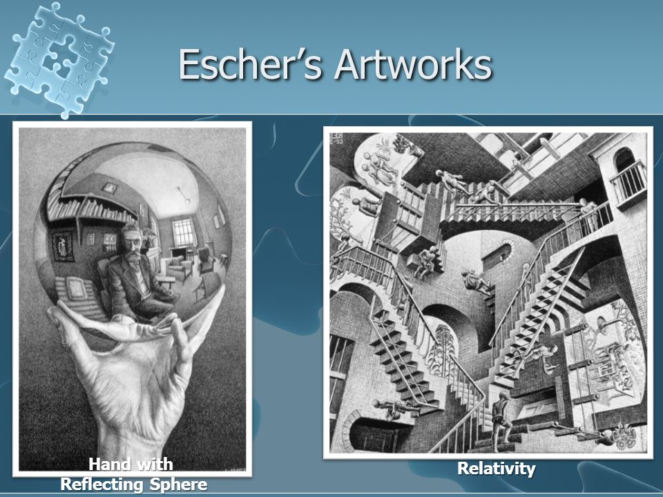 Escher's Artworks Hand with Reflecting Sphere Relativity