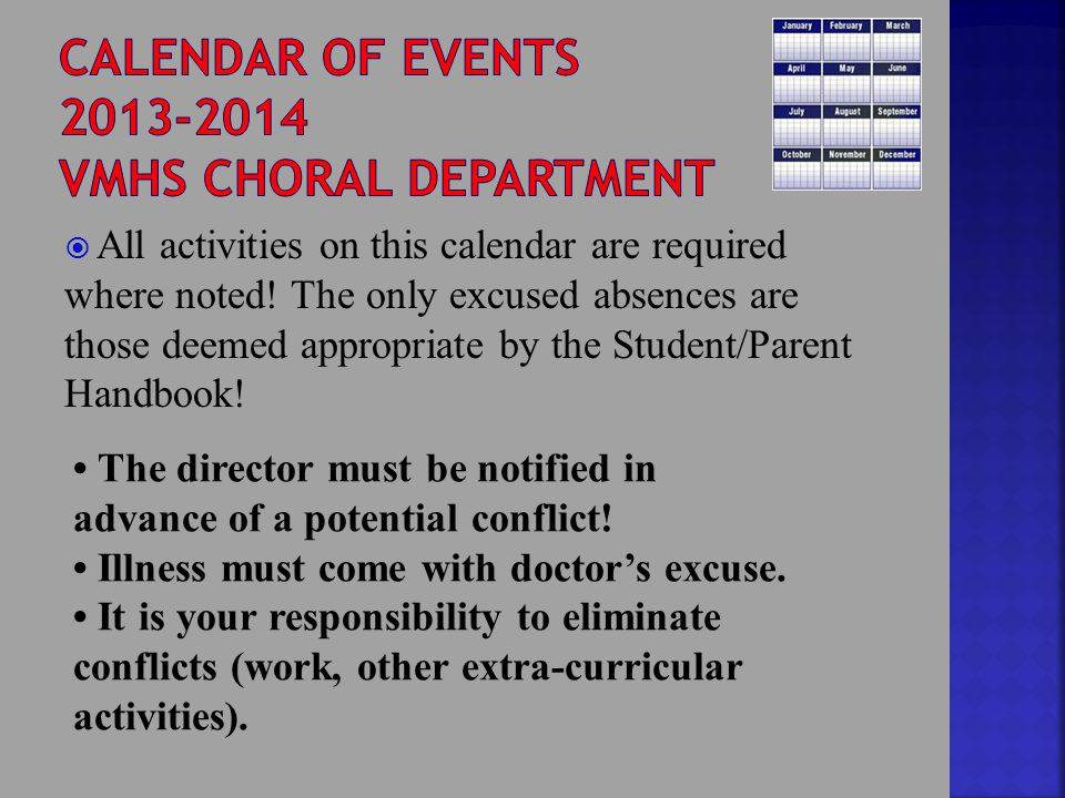  All activities on this calendar are required where noted.