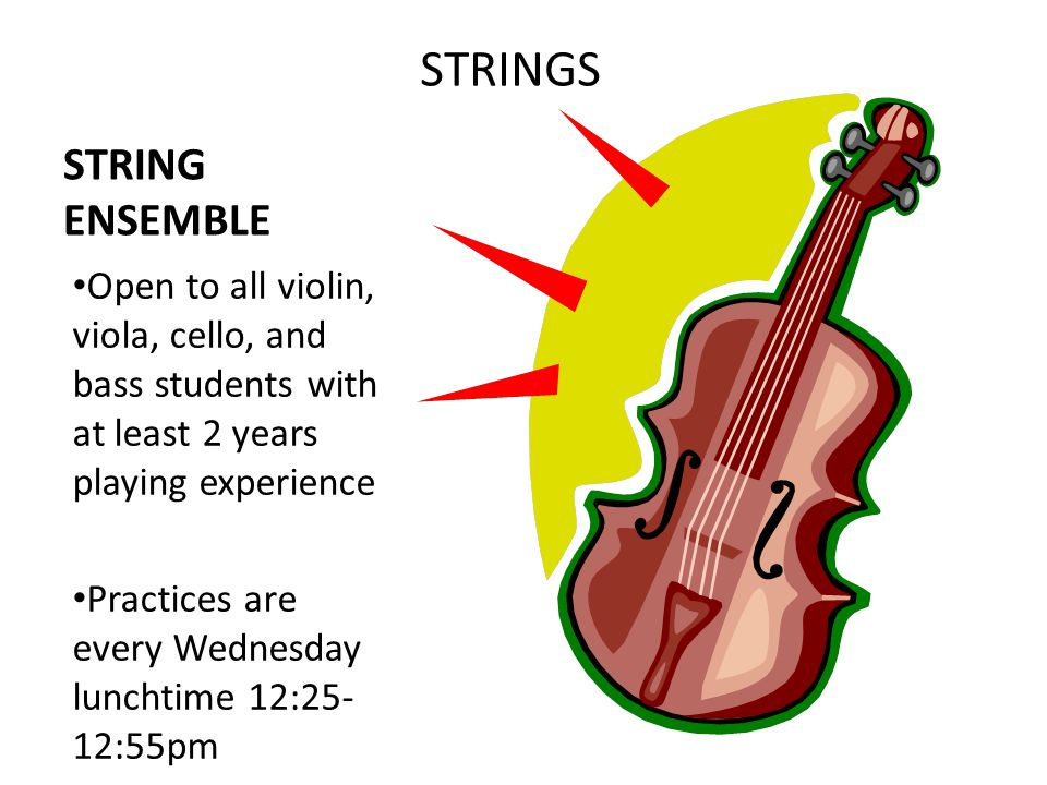 STRING ENSEMBLE Open to all violin, viola, cello, and bass students with at least 2 years playing experience Practices are every Wednesday lunchtime 12:25- 12:55pm STRINGS