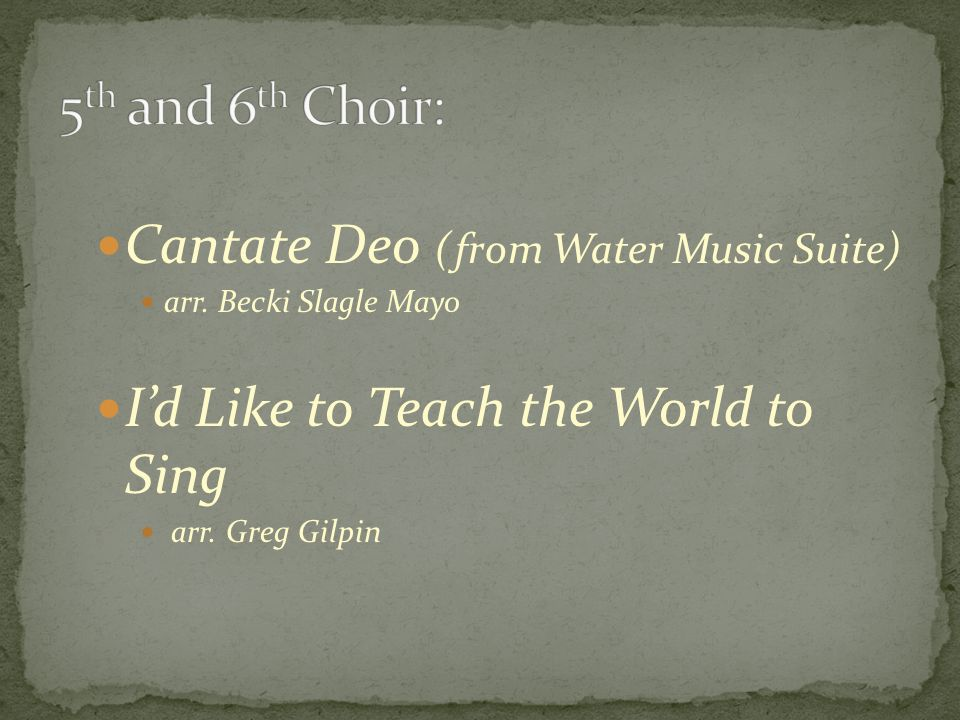 Cantate Deo (from Water Music Suite) arr.