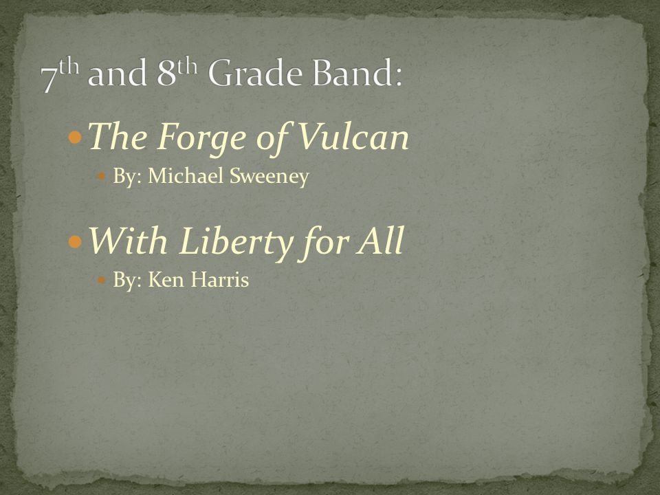 The Forge of Vulcan By: Michael Sweeney With Liberty for All By: Ken Harris