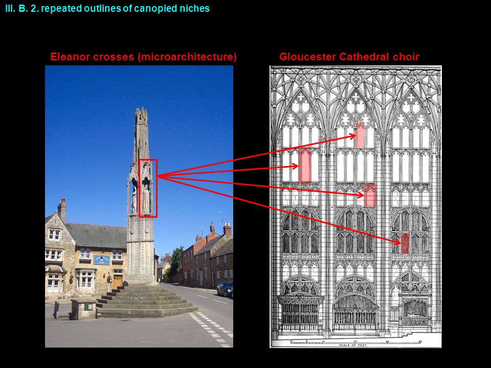 Eleanor crosses (microarchitecture) III. B. 2. repeated outlines of canopied niches Gloucester Cathedral choir