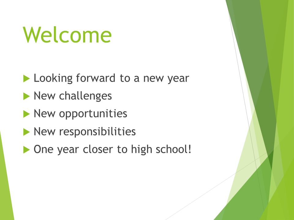 Welcome  Looking forward to a new year  New challenges  New opportunities  New responsibilities  One year closer to high school!