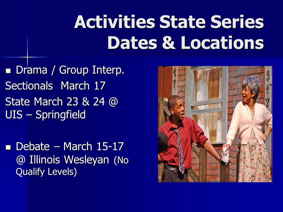 Activities State Series Dates & Locations Drama / Group Interp. Drama / Group Interp. Sectionals March 17 State March 23 & 24 @ UIS – Springfield Deba