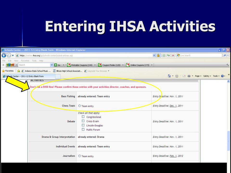 Entering IHSA Activities