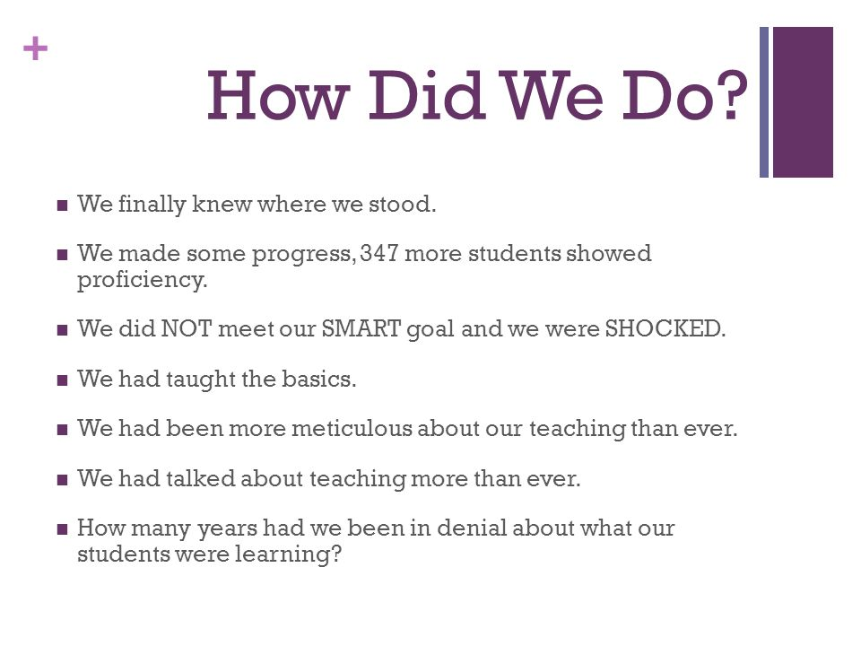 + How Did We Do? We finally knew where we stood. We made some progress, 347 more students showed proficiency. We did NOT meet our SMART goal and we we