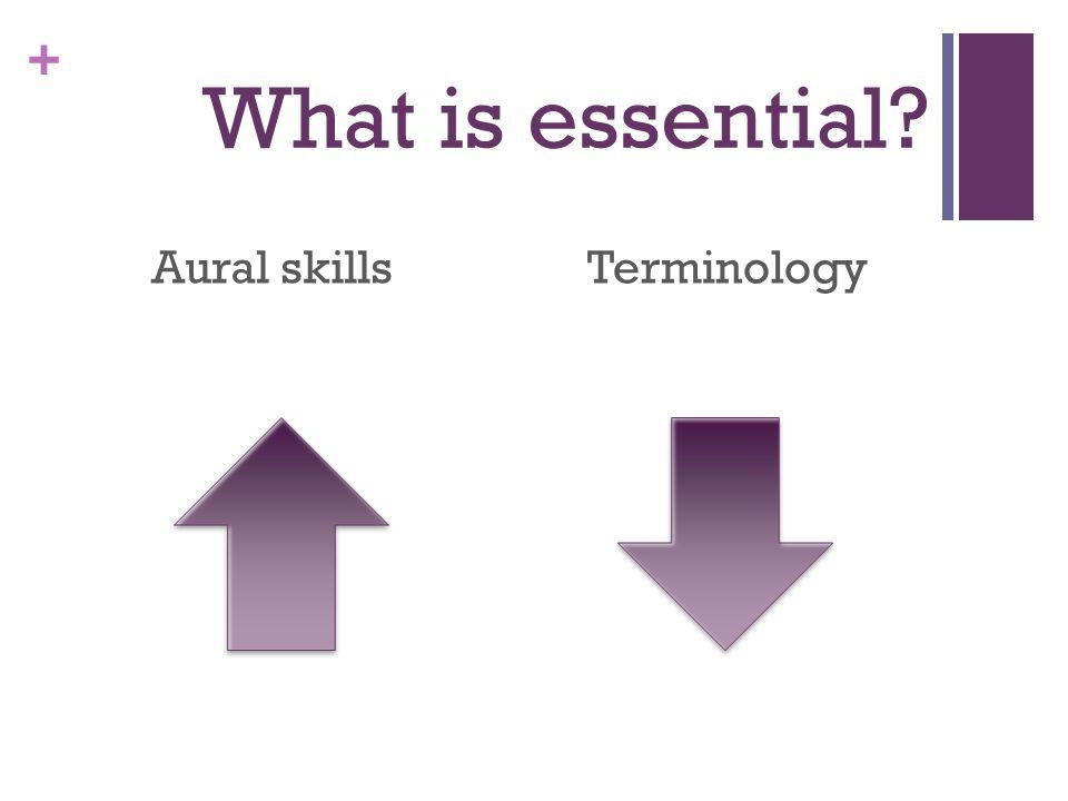 + What is essential? Aural skillsTerminology