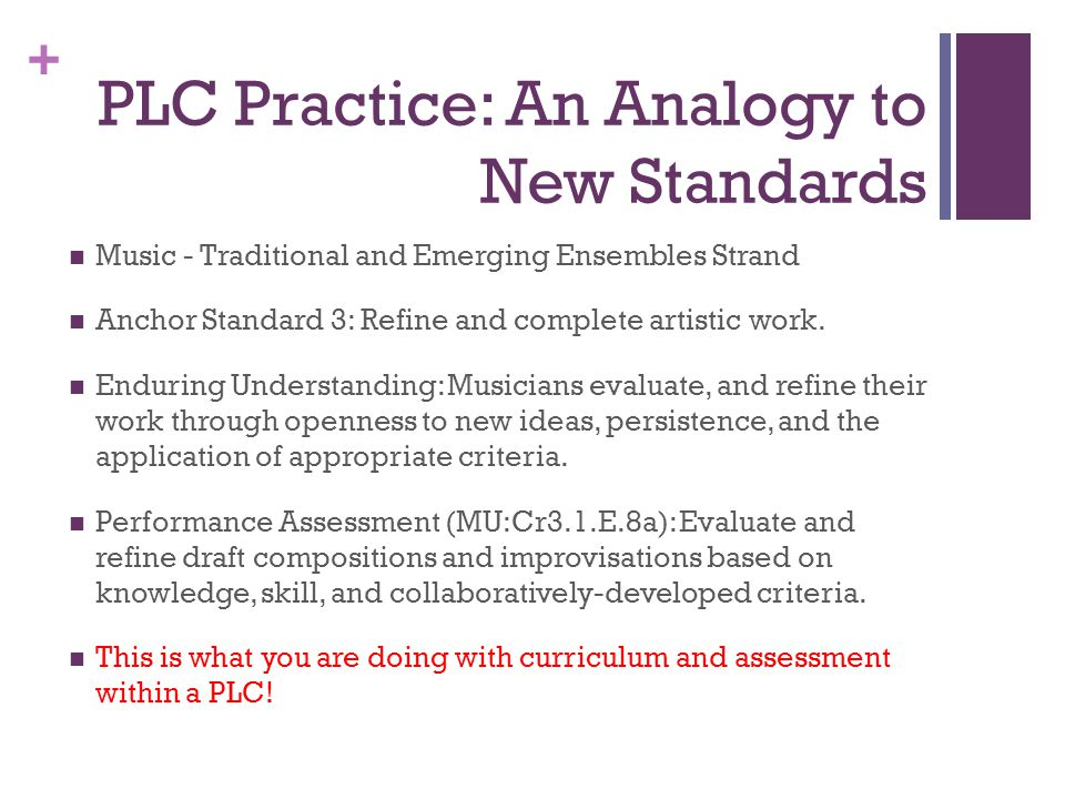 + PLC Practice: An Analogy to New Standards Music - Traditional and Emerging Ensembles Strand Anchor Standard 3: Refine and complete artistic work.