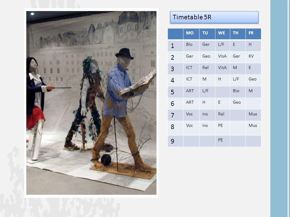 MOTUWETHFR 1 BioGerL/FEH 2 GerGeoVisAGerKV 3 ICTRelVisAME 4 ICTMHL/FGeo 5 ARTL/FBioM 6 ARTHEGeo 7 VocInsRelMus 8 VocInsPEMus 9 PE Timetable 5R