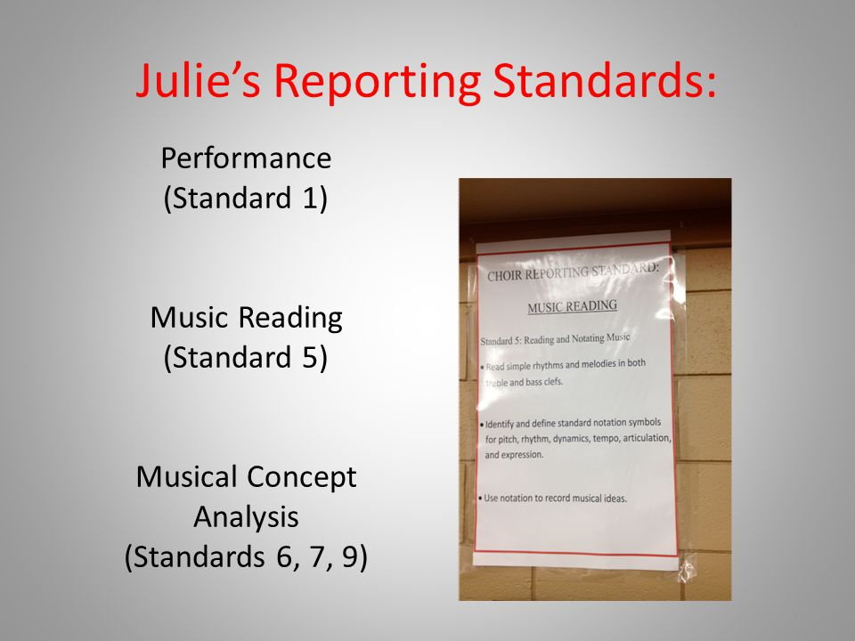Julie's Reporting Standards: Performance (Standard 1) Music Reading (Standard 5) Musical Concept Analysis (Standards 6, 7, 9)
