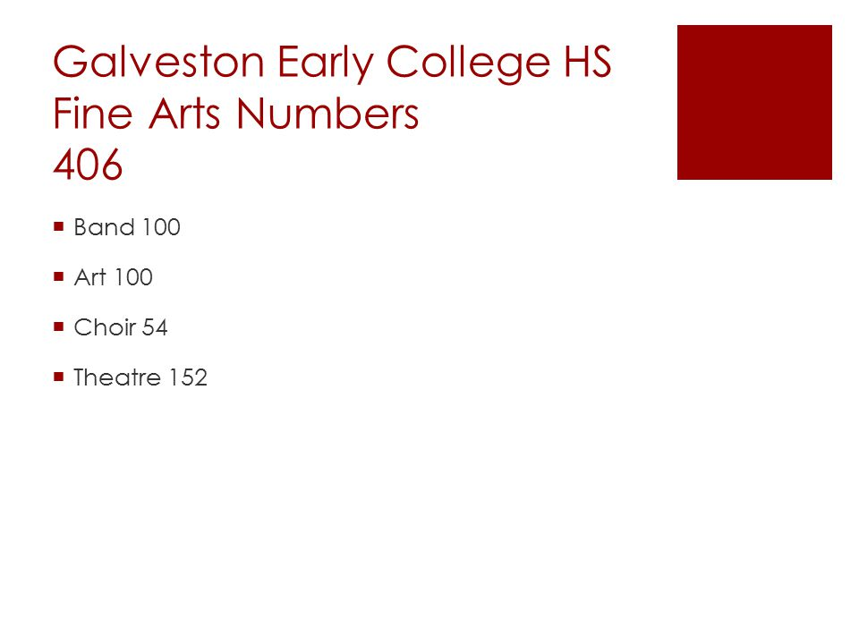 Galveston Early College HS Fine Arts Numbers 406  Band 100  Art 100  Choir 54  Theatre 152