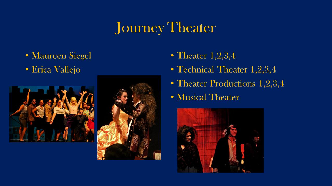 Journey Theater Maureen Siegel Erica Vallejo Theater 1,2,3,4 Technical Theater 1,2,3,4 Theater Productions 1,2,3,4 Musical Theater