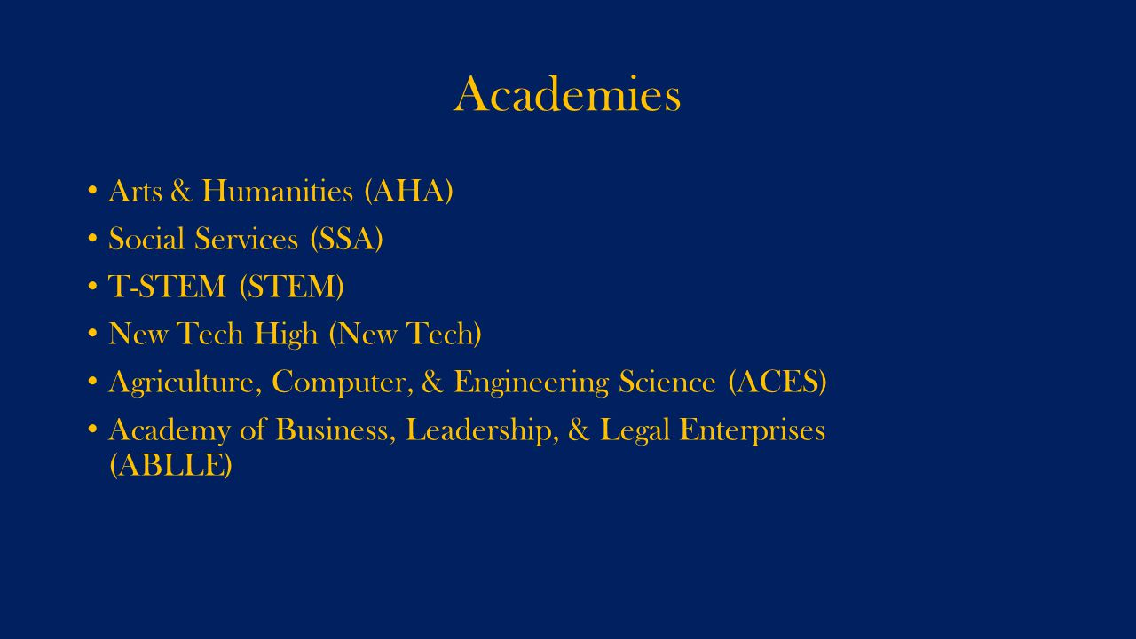Academies Arts & Humanities (AHA) Social Services (SSA) T-STEM (STEM) New Tech High (New Tech) Agriculture, Computer, & Engineering Science (ACES) Academy of Business, Leadership, & Legal Enterprises (ABLLE)
