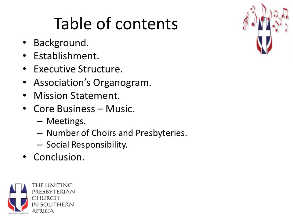 Table of contents Background.Establishment. Executive Structure.