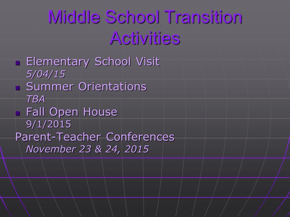 Middle School Transition Activities Elementary School Visit Elementary School Visit5/04/15 Summer Orientations Summer OrientationsTBA Fall Open House Fall Open House9/1/2015 Parent-Teacher Conferences November 23 & 24, 2015