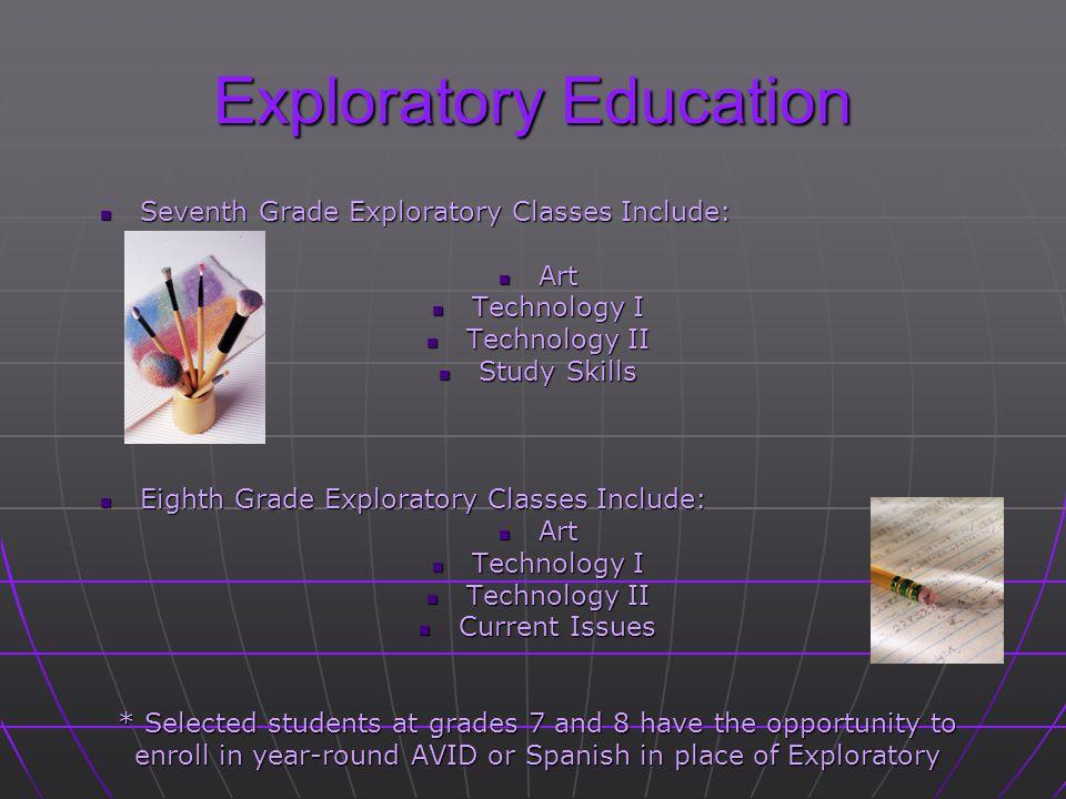 Exploratory Education Seventh Grade Exploratory Classes Include: Seventh Grade Exploratory Classes Include: Art Art Technology I Technology I Technolo