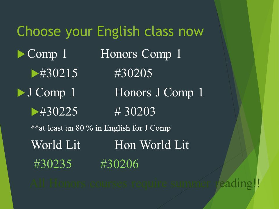 Choose your English class now  Comp 1Honors Comp 1  #30215#30205  J Comp 1Honors J Comp 1  #30225# 30203 **at least an 80 % in English for J Comp World LitHon World Lit #30235#30206 All Honors courses require summer reading!!