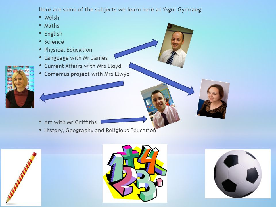 Here are some of the subjects we learn here at Ysgol Gymraeg: Welsh Maths English Science Physical Education Language with Mr James Current Affairs with Mrs Lloyd Comenius project with Mrs Llwyd Art with Mr Griffiths History, Geography and Religious Education