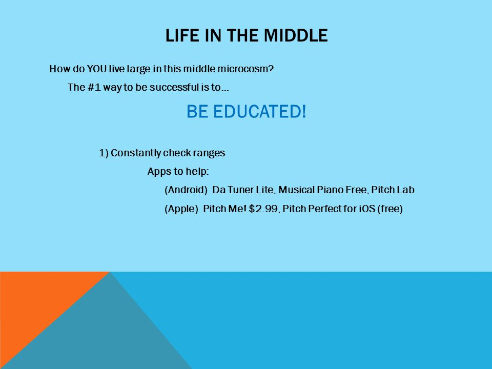 LIFE IN THE MIDDLE How do YOU live large in this middle microcosm? The #1 way to be successful is to… BE EDUCATED! 1) Constantly check ranges Apps to