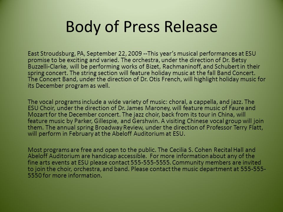 Body of Press Release East Stroudsburg, PA, September 22, 2009 --This year's musical performances at ESU promise to be exciting and varied.