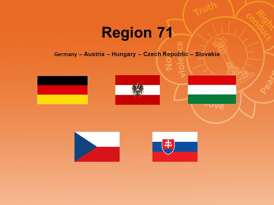 Basic info Region 71 Number of groups: 42 Number of centers: 14 Number of devotees: 562 National Council Presidents: Germany: Benno Wesener Austria: Dr.