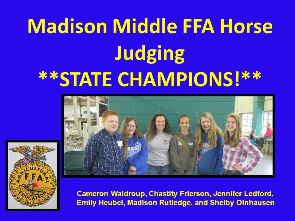 Madison Middle FFA Horse Judging **STATE CHAMPIONS!** Cameron Waldroup, Chastity Frierson, Jennifer Ledford, Emily Heubel, Madison Rutledge, and Shelby Olnhausen