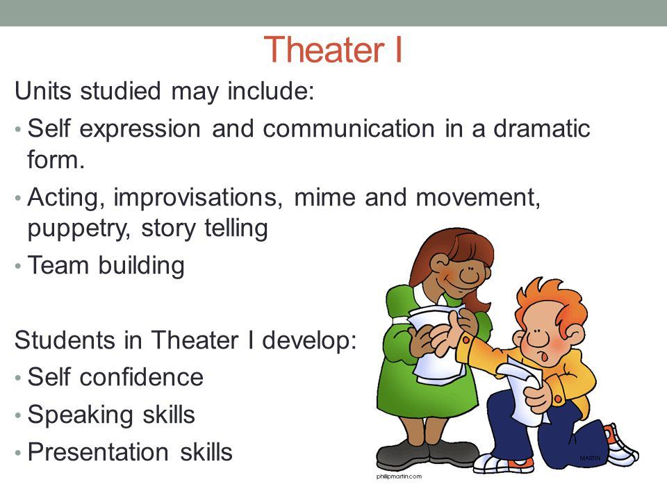 Theater I Units studied may include: Self expression and communication in a dramatic form.