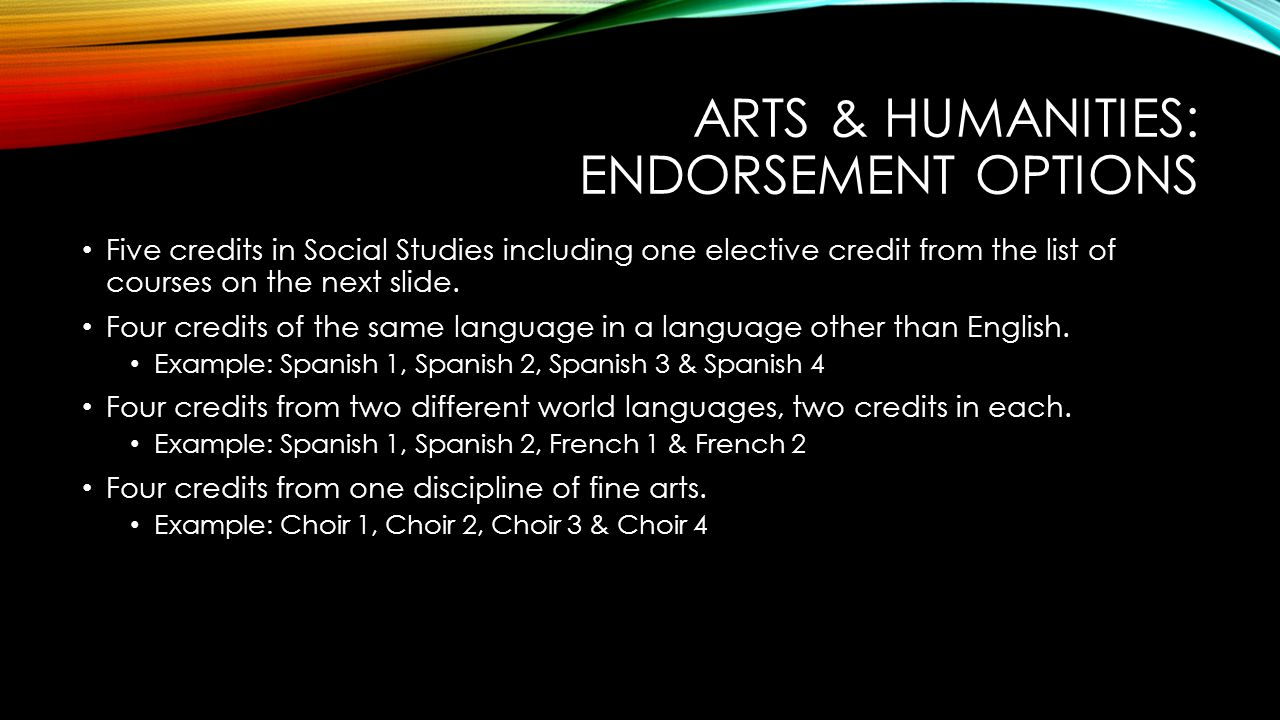ARTS & HUMANITIES: ENDORSEMENT OPTIONS Five credits in Social Studies including one elective credit from the list of courses on the next slide.
