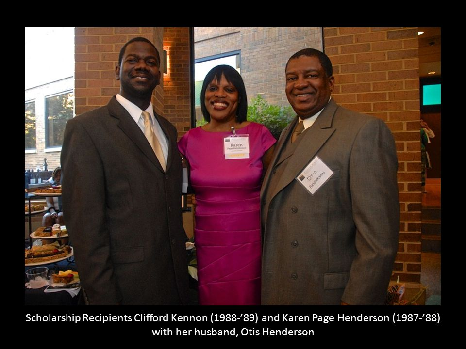 Scholarship Recipients Clifford Kennon (1988-'89) and Karen Page Henderson (1987-'88) with her husband, Otis Henderson