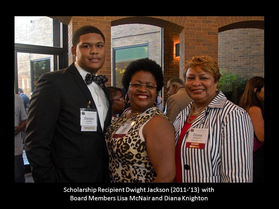 Scholarship Recipient Dwight Jackson (2011-'13) with Board Members Lisa McNair and Diana Knighton