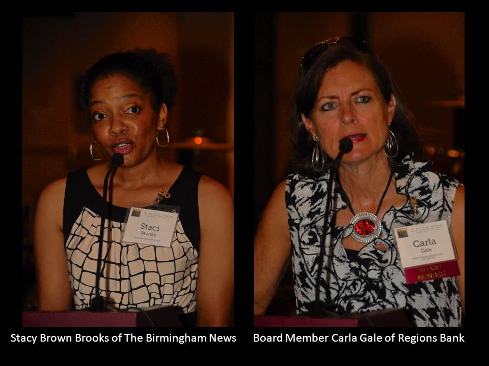 Stacy Brown Brooks of The Birmingham News Board Member Carla Gale of Regions Bank