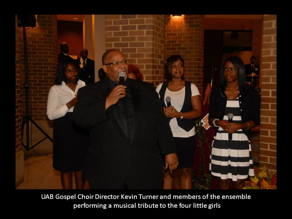 UAB Gospel Choir Director Kevin Turner and members of the ensemble performing a musical tribute to the four little girls