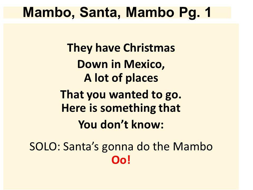Mambo, Santa, Mambo Pg.