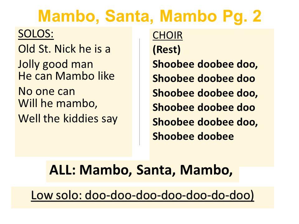 Mambo, Santa, Mambo Pg. 2 SOLOS: Old St.