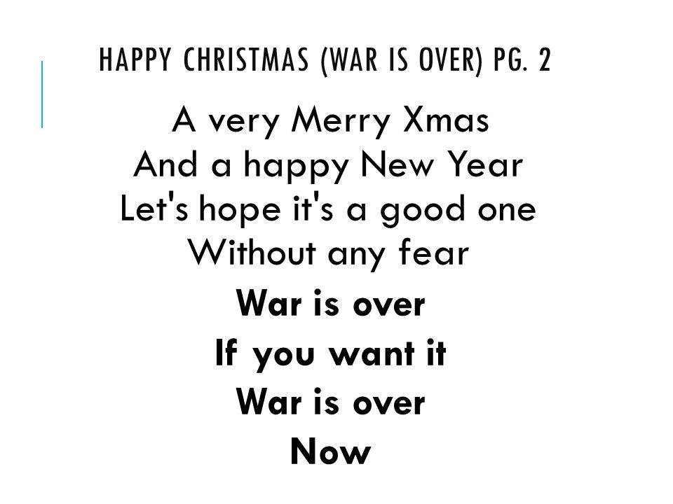 HAPPY CHRISTMAS (WAR IS OVER) PG.