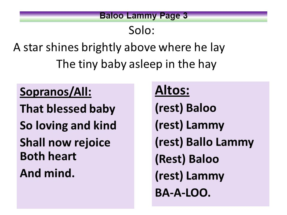 Solo: A star shines brightly above where he lay The tiny baby asleep in the hay Baloo Lammy Page 3 Sopranos/All: That blessed baby So loving and kind Shall now rejoice Both heart And mind.